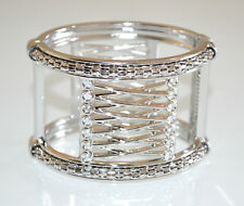 BRACCIALE ARGENTO RIGIDO donna strass cristalli schiava  elegante bracelet A74
