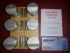1957-65 AMC,NASH,RAMBLER 196 6 CYL OHV  PISTON & RING SET, WITH PINS