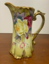 "Beautiful 7"" Antique Nippon Gold Hand Painted Porcelain Pitcher Ewer"