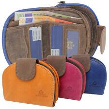Leder Damen Halbrund Geldbörse Portemonnaie Rindleder Börse Kartenfächer RFID
