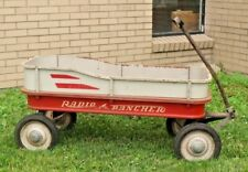 Vintage Radio Flyer Rancher red Wagon Metal All 4 Sides solid condition