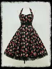 dress190 Black Floral Halterneck 50s Rockabilly Prom Ball Gown Party Dress 8-26