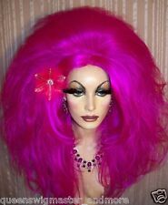 Drag Queen Wig Big Teased Big Fuchsia Purple Long Curls and Waves Long Bangs