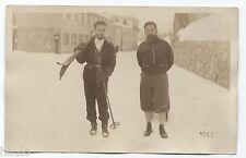 BM586 Carte Photo vintage card RPPC Homme ski neige