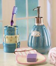 Ladies Ceramic Bathroom Bath Accessories Set Soap Dish Lotion Pump Toothbrush