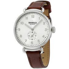 The Canfield SHINOLA серебряный циферблат темный коньяк кожаным ремешком, наручные часы S0120001935