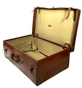 Antique 20th Century Leather Bound Suitcase / Travel Trunk Bag by Mercury Brand