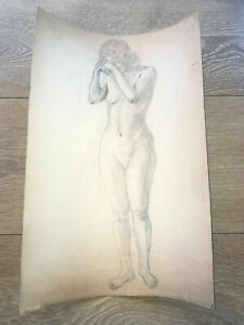 ART NUDE GIRL LADY LARGE PENCIL DRAWING ANTIQUE 19th. CENTURY