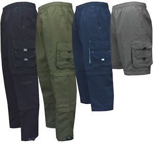 New Mens Zip Off Cargo 3 in1 Trousers Tracksuit Sport Casual Bottoms Shorts 3/4