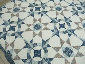 """QUEEN Vintage 90's Hand Quilted MARINER'S COMPASS (?) & OHIO STAR Quilt; 86"""" Sq"""