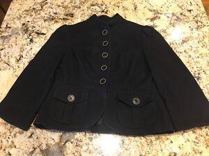 Banana Republic Women's Black Blazer Button Up Shirt Wool Blend Size 0P EUC