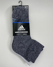 Adidas Men's Cushioned 3-Pair Quarter Socks size 6-12 Gray,White,Black 5147343A