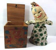 VTG Jonthay Wood Jack in The Box with Cloth Clown Classic Toy