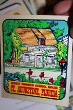 Vintage Florida St. Augustine oldest school Auto transfer suitcase decal 1970's