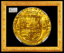 SPAIN 1556-1598 4 ESCUDOS NGC 65 FINEST KNOWN FULL CROWN DOUBLOON COIN GOLD COB