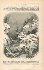 Moyen-Âge Chasse avec Chien à l'Ours Montagne Alpes Suisse Schweiz  GRAVURE 1844