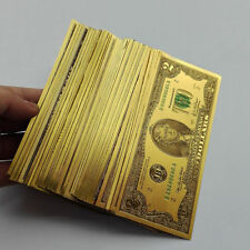 100pcs USD $2 2 dollar 24K Gold Foil Golden Paper Money Banknotes Crafts UNC
