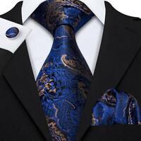 USA Mens Blue Gold Paisley Tie Set Silk Necktie Pocket Square Cufflinks Party