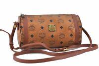 Auth MCM Cognac Visetos Leather Vintage Shoulder Cross Body Bag Brown  B7666