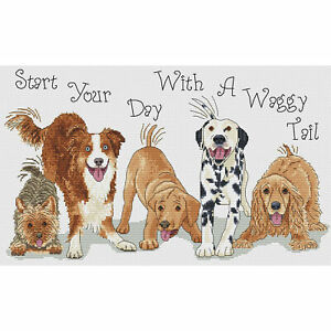 Start Your Day With A Waggy Tail Cross Stitch Design (kit or chart)