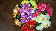 Joblot of 36 Mixed colour rose Silk Artificial Flower Bunches New wholesale