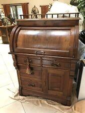Antique Victorian Burled Walnut Cylinder Roll Top Desk