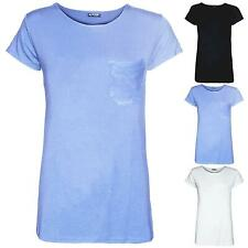 EX PRIMARK Womens Jersey Plain Front Pocket Tee Top Ladies Casual Basic T Shirt
