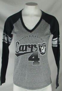 Oakland Raiders Women's NFL G-III Long Sleeve V-Neck Gray Tee #4 Carr