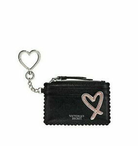 Victoria's Secret Heart Card Case Key Chain Black