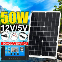 50W 12V/24V USB Solar Panel Battery Power Charger Camping + 20A Solar Controller