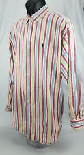 "Vtg Ralph Lauren Mens ""The Big Shirt"" Striped Blue Pony Button Down Shirt Sz L"
