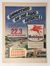 Original Print Ad 1953 MOBILGAS Mobil Unmatched on the Road Results Economy