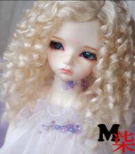"New 7-8"" Long Curl Light Gold BJD Wig For 1/4 MSD,LUTS-KID,MSD,DOC,LATI-BLUE,DZ"