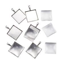 6 Sets Tibetan Alloy Square Photo Pendant Setting Bezels Silver w/ 24.5mm Covers