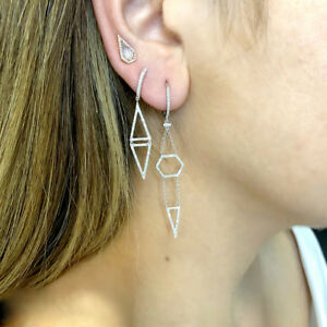 0.49 CT 14K White Gold Round Cut Natural Diamond Triangle Dangle Drop Earrings