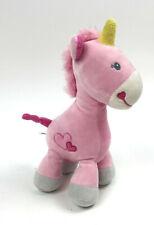 NWT Okie Dokie Pink Unicorn Plush Rattle Hearts Soft Velour Stuffed Lovey Toy