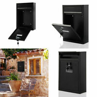 BLACK WALL MOUNTED LETTERBOX MAILBOX LOCKABLE LETTER MAIL POST BOX 2 KEYS