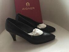 Etienne Aigner Pumps Klassiker Schwarz Leder EUR Größe 40 US size 9 UK size 7