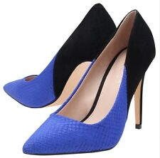 Carvela Kurt GeigerWomen's Blue Ash Suede Mix Pointed Toe Stileto Heel CourtShoe