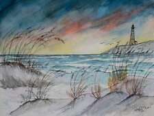 beach lighthouse art sunset watercolor painting signed print seascape