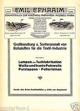 Putzwolle Ephraim Breslau XL Reklame 1923 Wolle Kunstwolle Lumpen Textil ad