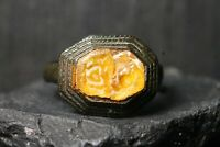 Ancient Bronze Patina Stone Ring, Rare Authentic Artifact, 15th-18th Century AD