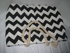 Black and White Chevron Tote Beach Bag Soft Rope Handles Zippered Closure Lined