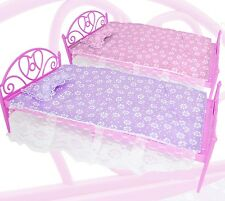 Barbie Sindy Style Bed with Cover and Pillow. Pink or Purple.1or2. UK Supplier