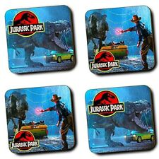 Jurassic Park Movie - Steven Spielberg - Alan Grant - Set of 4 - Wood Coasters