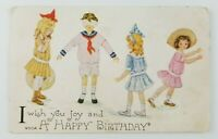 Postcard Wish Happy Birthday Blindfolded Boy Girls Hide n Seek Vintage