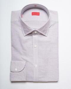 Isaia Lavender White Striped 'Fit' Cotton Slim Fit Dress Shirt 39 15.5