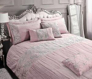 Marini Glittery Crinkle Sparkle Sequins Grey Pink Duvet Cover & Pillowcase Set