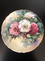 Antique JPL France Plate Hand Painted signed F.Woodman 1906 Cabbage Roses w/Gold