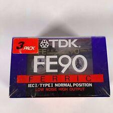 PACK 3 X TDK FE 90 BLANK CASSETTE TAPES NEW SEALED
